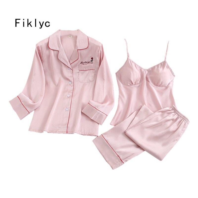 Fiklyc Underwear 3 Pieces Women's Turn-down Collar Chest Pad Long Pants Pajamas Sets Autumn Lady Satin Homewear Femme Pyjama Set
