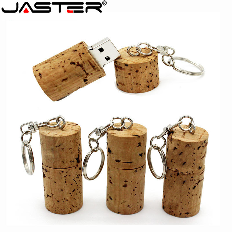 JASTER Wood Cork USB Flash Drive Wood Bottle Plug Pendrive 16GB 32GB 64GB Memory Stick Personality Logo Customized With Keychain