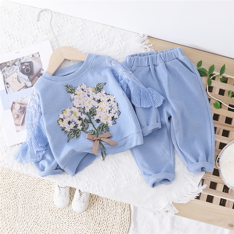 2020 Baby Girls Clothing Sets Beautiful Flowers Lace T Shirt Pants Toddler Infant Clothes Children Vacation Costume