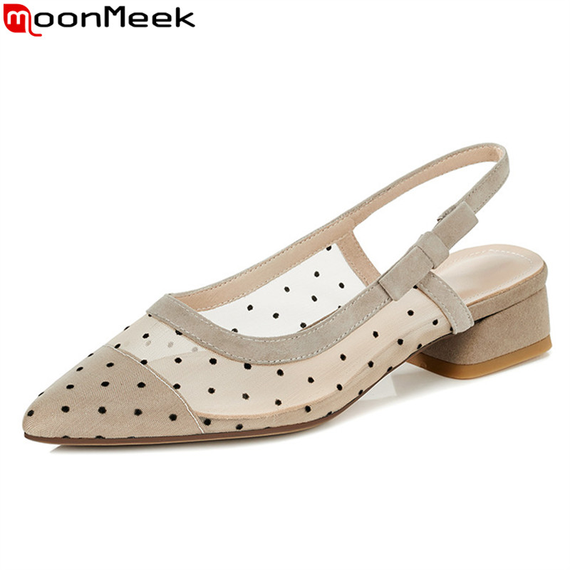 MoonMeek 2020 New Brand summer women pumps top quality sheepskin party shoes low heel pointed toe single shoes black