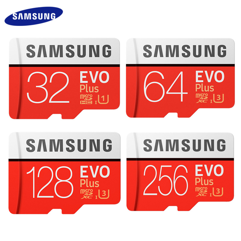 Карта памяти SAMSUNG EVO PLUS 256 ГБ Высокое Скорость 100 МБ/с. Micro SD класса 10 U3 TF карты UHS-I 128G 64 Гб оперативной памяти, 32 Гб встроенной памяти Micro SD карты