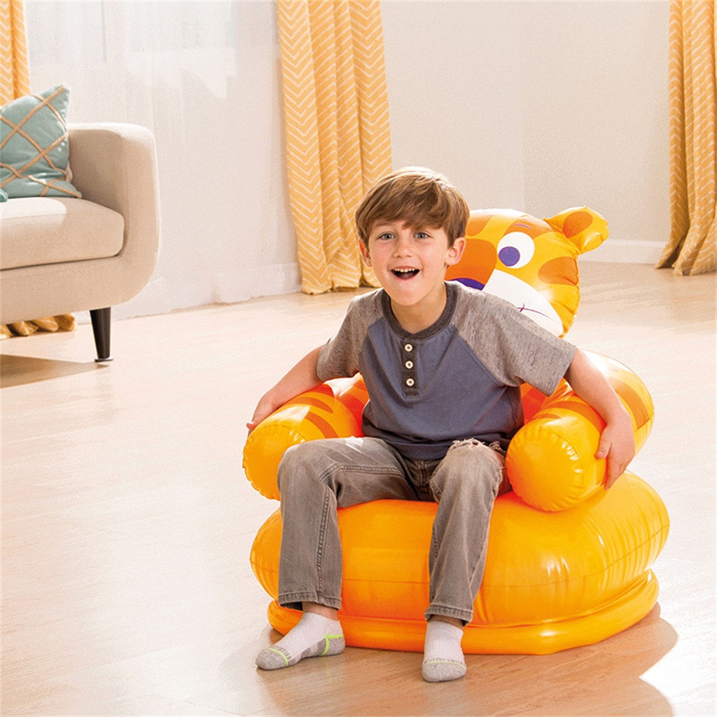 Cute Portable Inflatable Sofa Cartoon Animal Children Seat Tiger Bear For Kid 3-8 Years Old Lovely Kids' PVC Chairs Baby Seats
