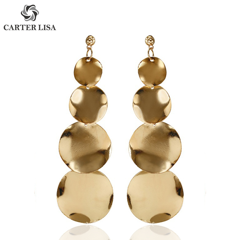 CARTER LISA 2019 Fashion Style Women Triangle Metal Tassel Drop Earring Gold Sliver Color Round Geometric Jewelry HLE0125000