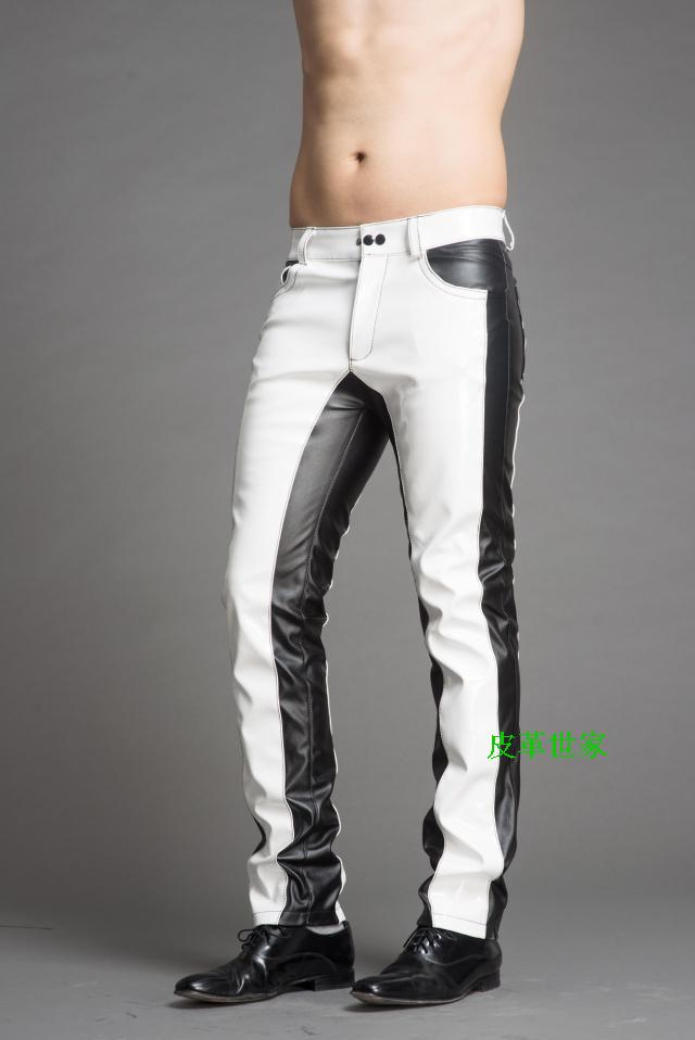 New European And American Men's Patent Leather Contrast Color Fashion Personality Slim Leather Pants Singer Costumes