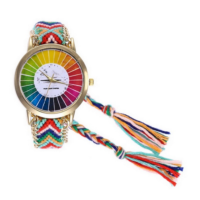 Women Girls Quartz Wristwatch Colorful Weave Rope Band Sports Watch Gifts LXH