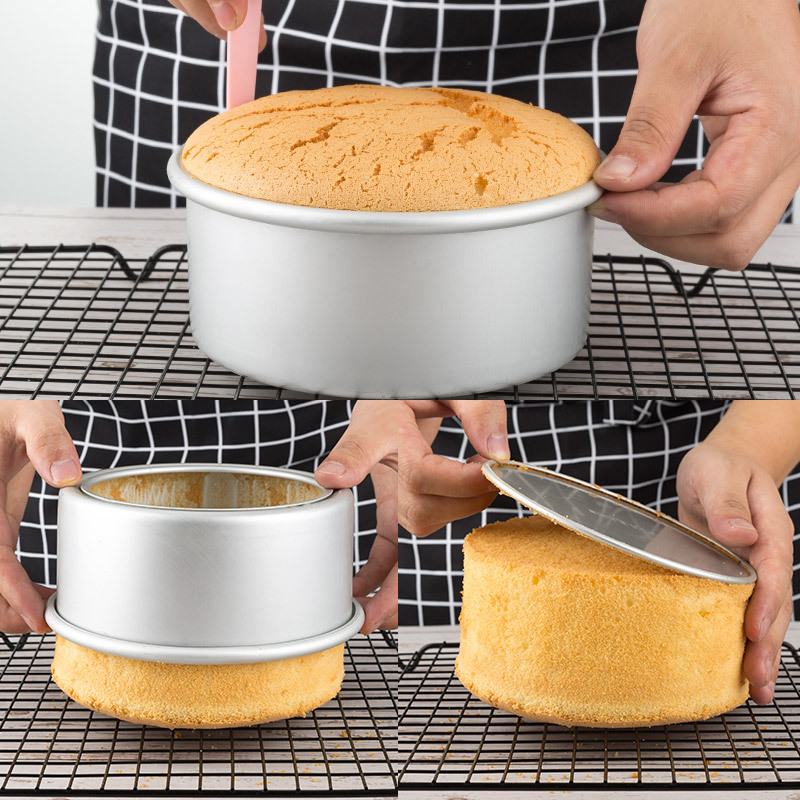 1/2/3pcs Tiered Round Cake Mold Set Aluminum Alloy Cake Pan Set Non Stick Baking Pans 4/6/8 inch Cakes Mould Removable Bottom