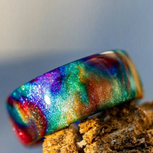 Newly Rainbow Diamond Infused Resin Ring Diamondcast Band Sparkly Smooth-Finished Gift for Men Women BN99