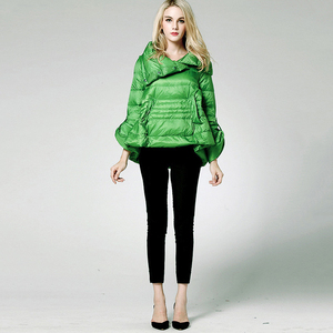 Image 5 - [EAM] Loose Fit Multicolor Green Down Jacket New Stand Collar Long Sleeve Warm Women Parkas Fashion  Spring Autumn 2020 1B811