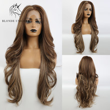 Blonde Unicorn Lace Part Synthetic Wig Long Wavy Mixed Dark Brown with Highlight Hair Wigs for Black White Women Daily Lace Wigs