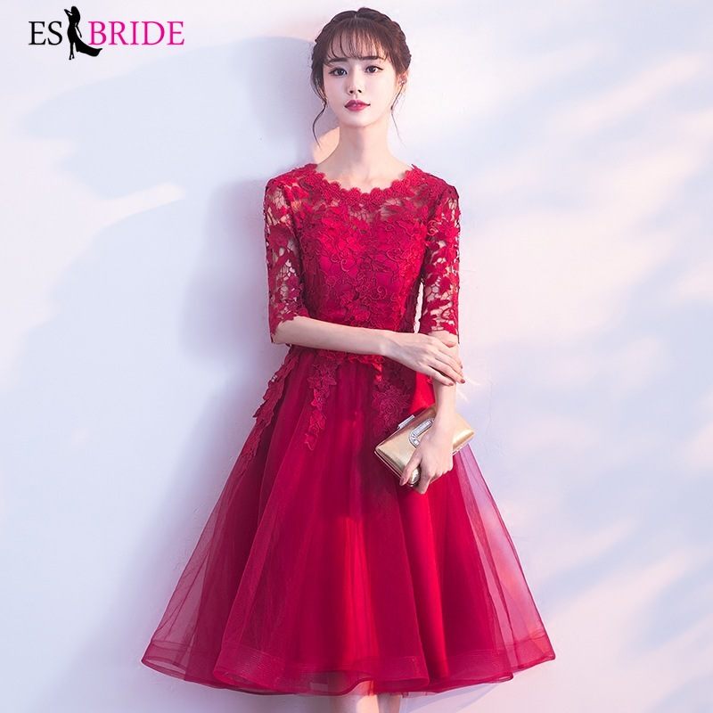 Lace Prom Dresses Red A-Line O-Neck Half Sleeve Elegant Tulle Evening Party Gowns Vestido De Festa 2019