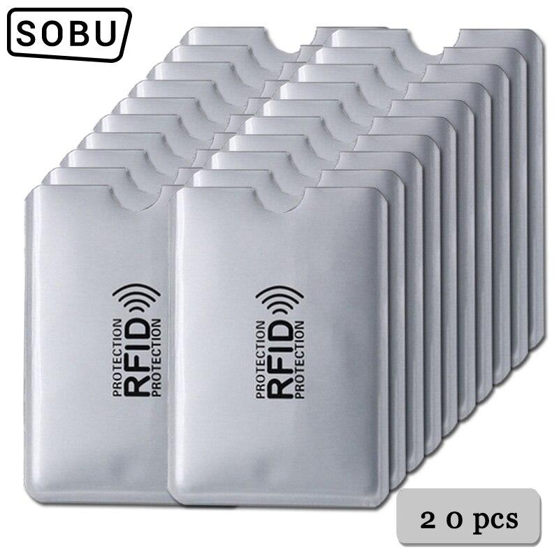 Anti Rfid Wallet Blocking Reader Lock Bank Card Holder Id Bank Card Case Protection Metal Credit Card Holder Aluminium 6*9.3cm