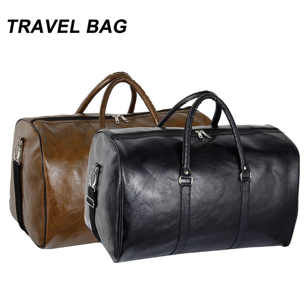 Genuine Leather Men Travel Bags Overnight Duffel Bag Weekend Large Tote Crossbody