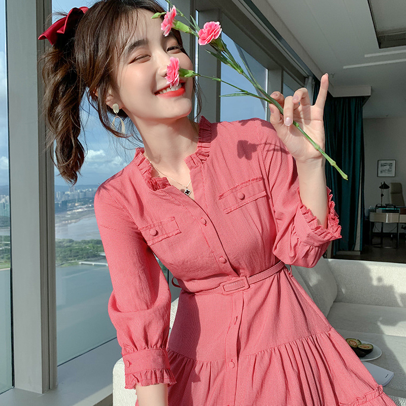 French retro plaid skirt 2021 spring dress new Korean fashion dress