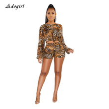 Sexy Leopard Print Women's Tracksuit Casual O Neck Lace Up Crop Top With Shorts Two Piece Set Skinny Night Club Party Women Sets недорого