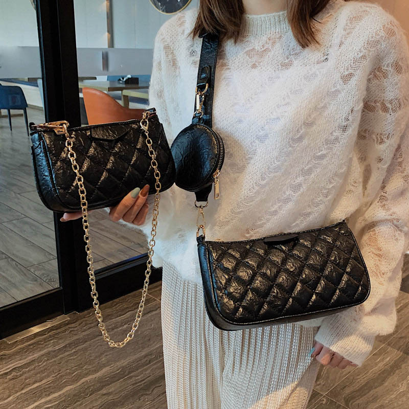 Bags For Women Luxury Soft Leather 3Pcs Shoulder Bag Ladies Vintage Purses And Handbags Mini Chain Messenger Bag  Evening Clutch