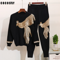Luxurious Chic Handmade Beading Sequined Tracksuit Women matching sets High Street Knitted Pullover Sweater & Pants 2 Piece Set