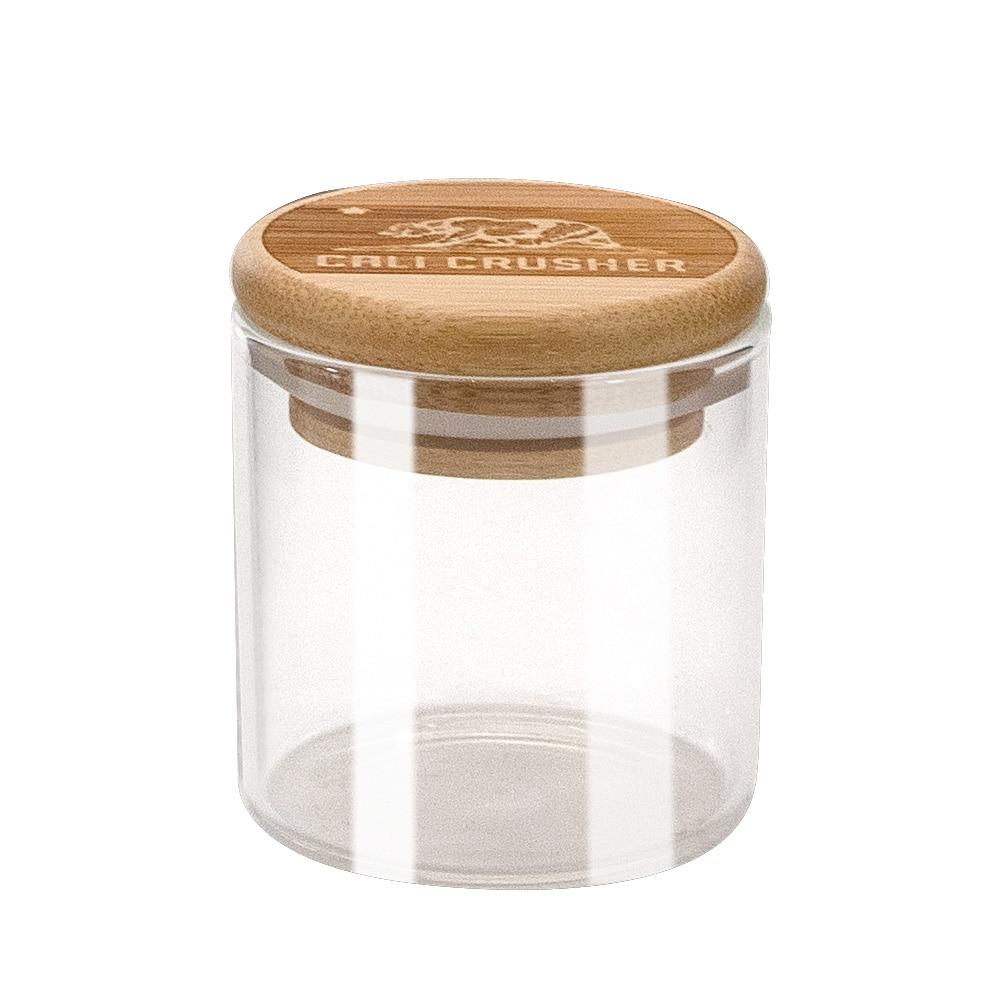 HONEYPUFF Natrual Bamboo контейнер для хранения, банка для хранения 125 мл, стеклянные бутылки для хранения, банки с бамбуковой крышкой, герметичные травы - Цвет: Glass Jar