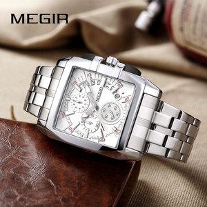 Image 4 - MEGIR Original Luxury Men Watch Stainless Steel Mens Quartz Wrist Watches Business Big Dial wristwatch mens Relogio Masculino
