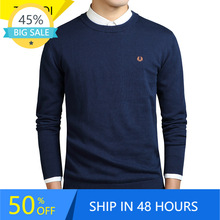 Men Sweater Pullover Korean-Clothing Crew-Neck Winter New-Style Cotton Jersey Knit Solid