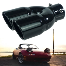 Stainless Steel Car Exhaust Pipe Muffler Tail Rear Pipe Double Outlet Tailpipe P82B