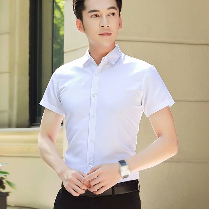 Summer Shirt Men Office Gentlemen Shirt Korean Style Slim Shirt Solid Color Short Sleeve Business Wear Basic Tops Work