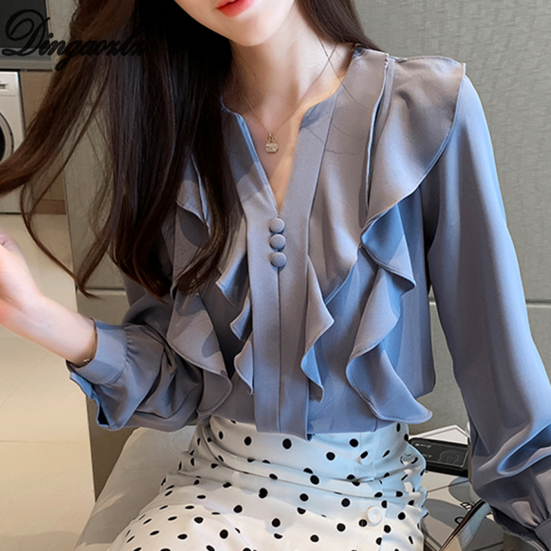Dingaozlz Korean 2019 New Fashion Long Sleeve Chiffon Blouse Elegant Female Ruffles Chiffon Shirt Casual Clothing Women Tops