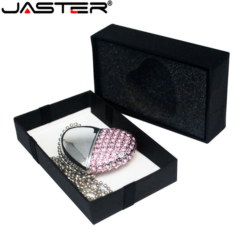 JASTER USB 2.0 Metal Diamond Crystal Heart With Gift Box USB Flash Drive Pendrive 4GB 32GB 64GB Memory Stick Drive Customer Logo