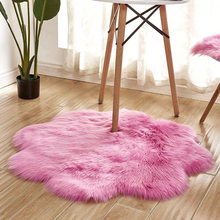 Shaggy Flower Shaped Area Rugs Warm Artificial Sheepskin Rug Bedroom Chair Sofa Feet Mat Anti-slip Washable Carpet Home Decor(China)