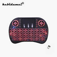 i8 Mini Wireless Keyboard 2.4ghz English Russian 3 colour Backlit Air Mouse with Touchpad Remote Control For TV Box USB Keyboard