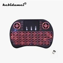 I8 Mini kablosuz klavye 2.4ghz İngilizce rusça 3 renk arkadan aydınlatmalı Touchpad ile hava fare TV kutusu için uzaktan kumanda USB klavye