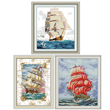Joy Sunday Sailing series DIY 14CT counted cross stitch kits patterns printed Chinese needlework embroidery sets for decorations joy sunday sweetnessand poetic counted cross stitch 11