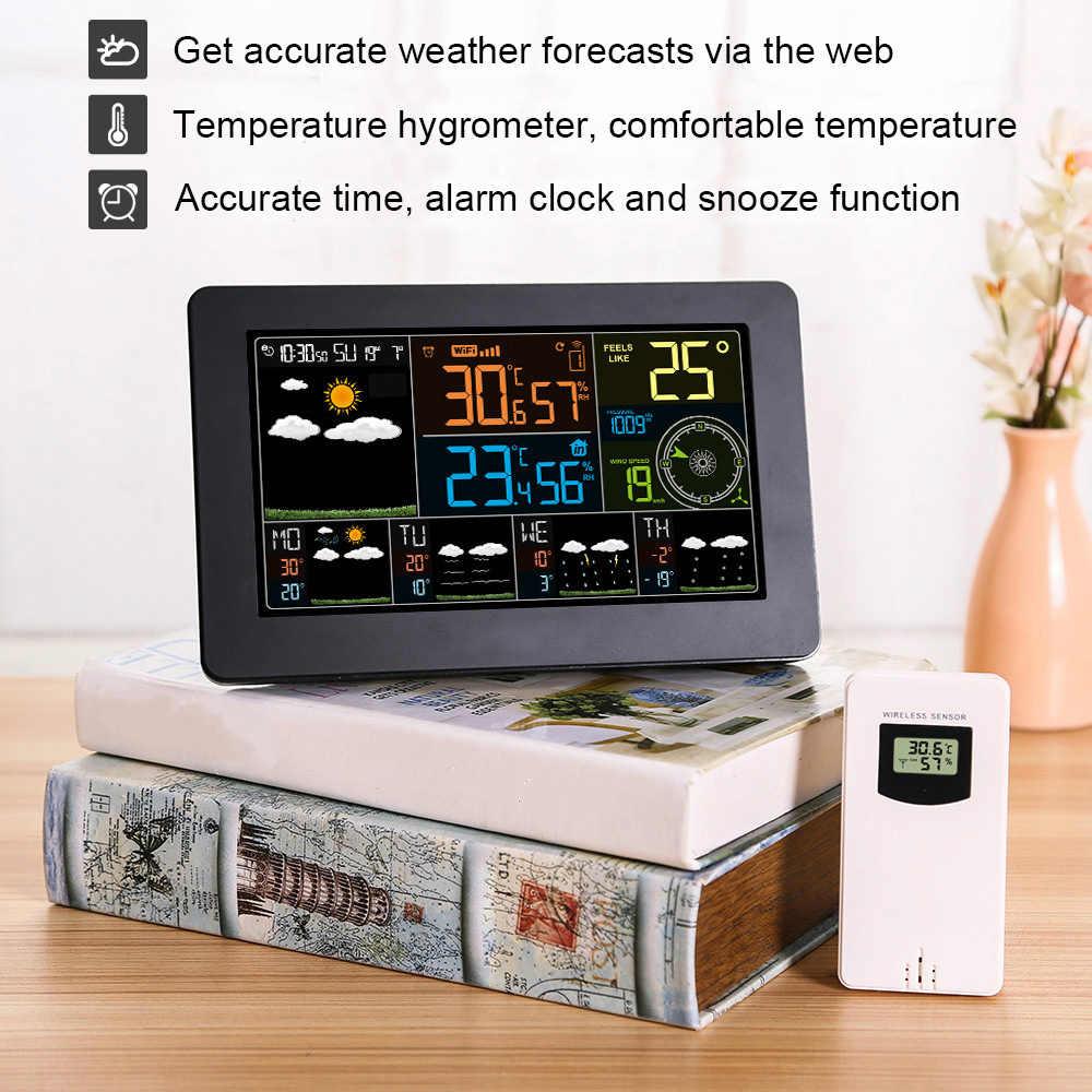 Wifi dijital alarmlı saat duvar saati hava İstasyonu kapalı açık sıcaklık nem basıncı rüzgar hava durumu LCD
