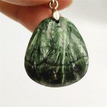 حقيقي الطبيعي الأخضر Seraphinite قلادة أحجار استشفاء 30x28x13 مللي متر النساء الرجال الكريستال محظوظ هدية قلادة قلادة AAAAA