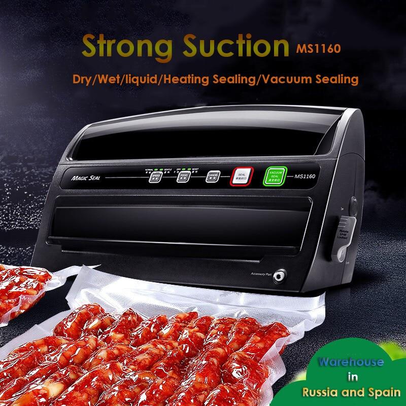 Overseas Warehouse MS1160 Vacuum Sealer 220V EU Plug  With Vacuum Bags Professional Vacuum Sealing Machine Dry/Wet Food Storage