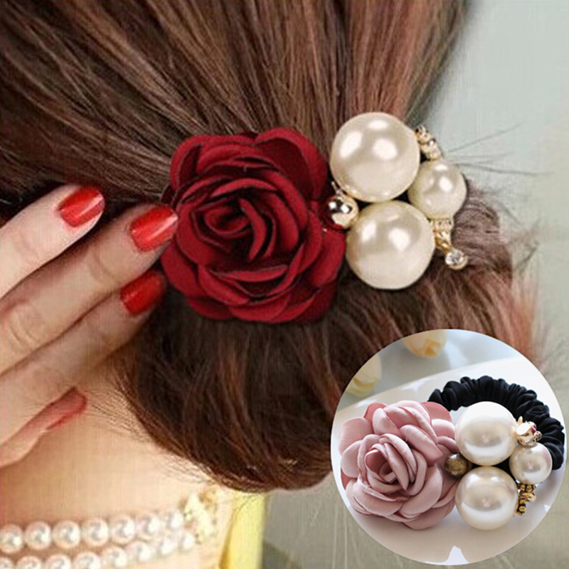 1pc Hair Accessories Women Fashion Style Big Rose Flower Pearl Rhinestone Hair Bands Elastic Hair Rope Ring 5 Colors  For Girls