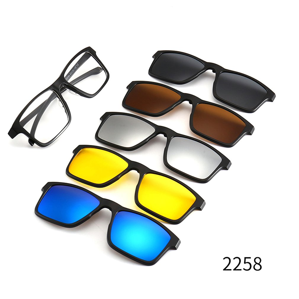 Men And Women Myopia Glasses Frame Flat Mirror Dual-Use Five-Piece Magnetic Set Mirror Polarized Sunglasses Clip