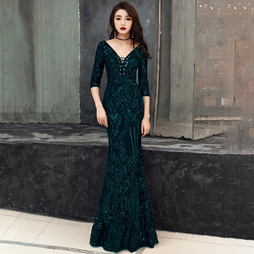 Red Sequined Lace Up V Neck Backless Mermaid Dress Women Summer Sexy Party  Evening Dresses Elegant Luxury Long Dress For Wedding