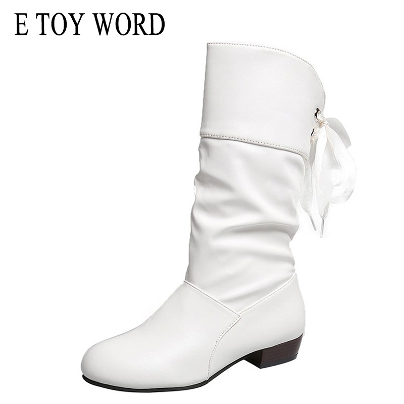 E TOY WORD Autumn boots women white spring autumn single folds mid-calf and winter wedges cotton shoes