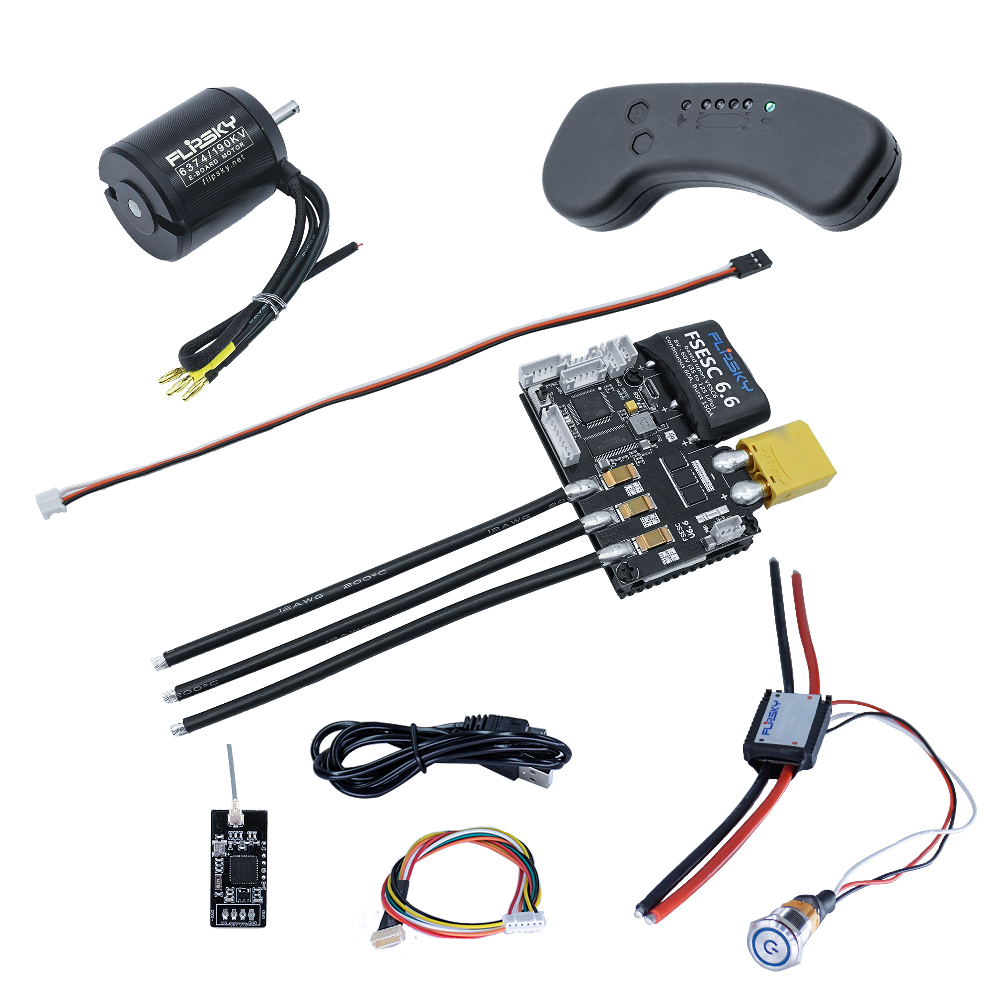Skateboard ESC Combo Motor 6374 + VESC 6.6 + Remote Controller +Bluetooth Skateboard Motor DIY Kit Full Complement
