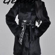 New Arrival Elegant Winter Coat Women Fur Shaggy Thick Warm Slim Fit Black Belt Pocket Ladies Imitation Mink Fur Coat Plus S-5xl
