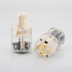 Image 5 - HI End Schuko plug EU versie stekkers voor audio power kabel 24 K Vergulde Man Plug Vrouwelijke IEC Connector