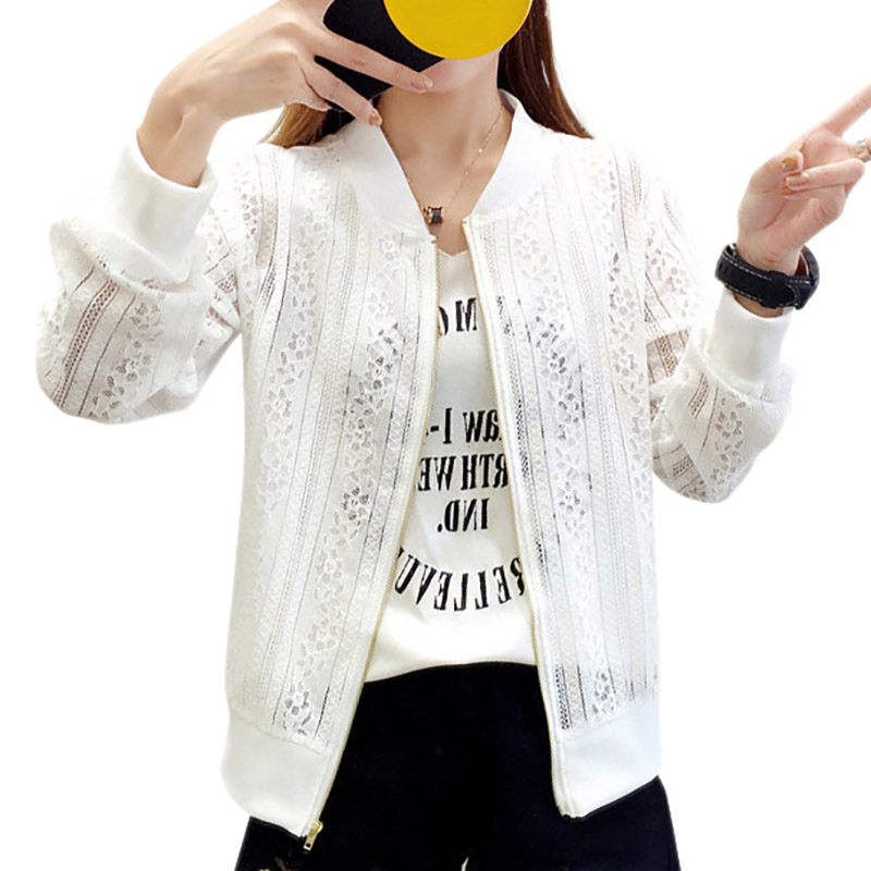 Women Jacket long-sleeved Casual lace Solid hollow Out Baseball Jacket Short Coat x