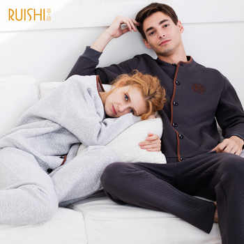 New Couple Matching Pijamas Winter Thick Cotton Cardigan Pajamas Women's Cotton Home Wear Suit Men and Women Warm Pajamas Sets - DISCOUNT ITEM  28% OFF All Category