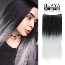 HUAYA 24inches Long Straight Hair Clips piece Heat Resistant Synthetic Wig Women's Silky Straight Extension Hair Pieces fashion long straight 6h27h613 heat resistant synthetic hair extension for women