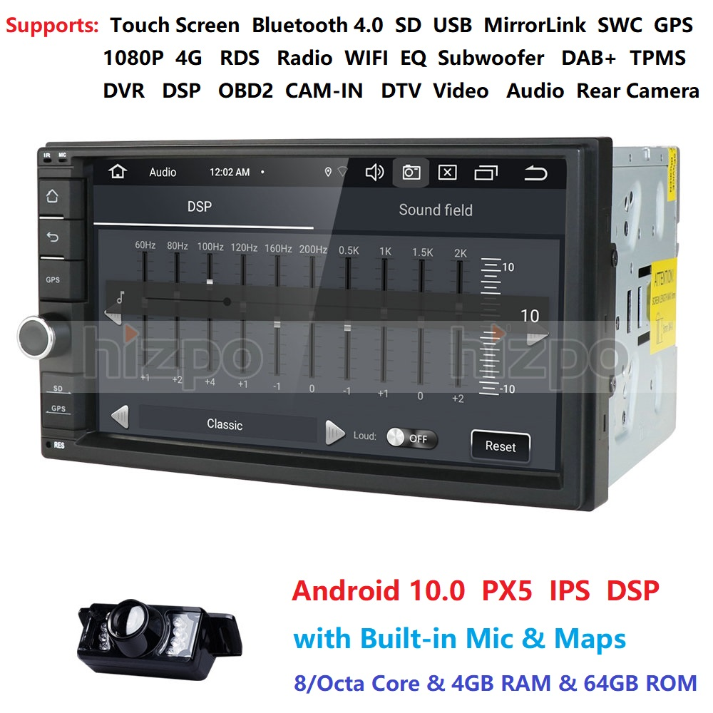 7 Android 10.0 Octa Core 4G RAM 64G ROM Universal Double 2 Din for Nissan Car Audio Stereo GPS Navigation Radio Car Multimedia image