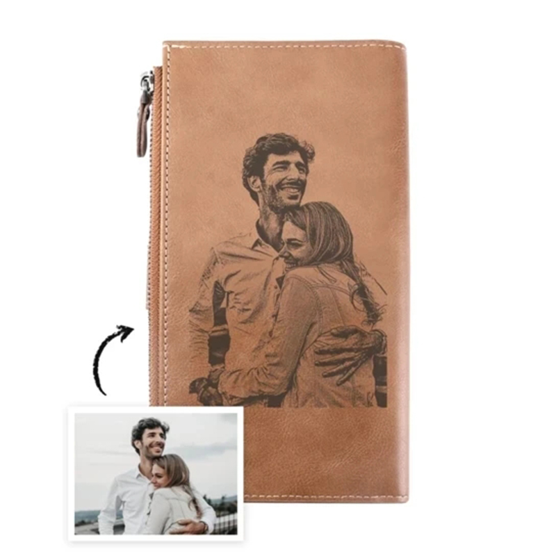 Custom Leather Multi-Card Bit Zipper Buckle Wallet Casual Retro Men's Wallet DIY Custom Picture Gift Engraved Wallets For Men