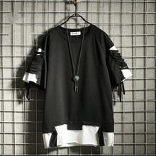 2020 oversized t camisa streetwear rasgado buraco vintage hip hop t camisa falso dois solto manga curta verão