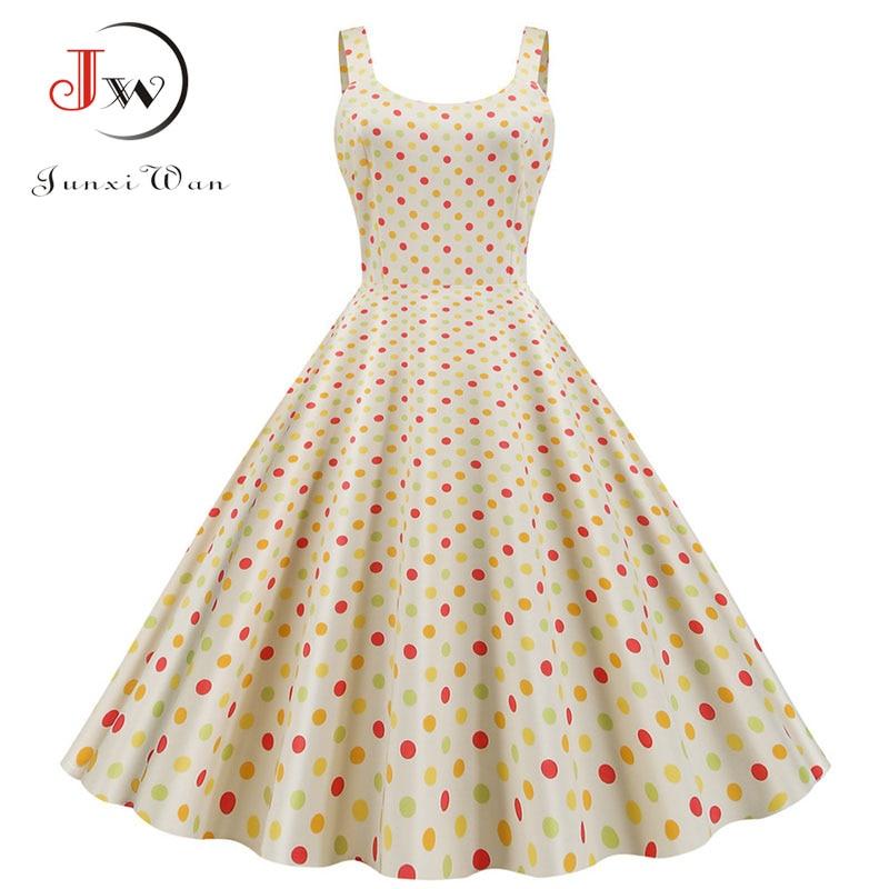 Women Summer Sexy Party Dress Casual Polka Dot Print Hepburn Vintage Robe Femme Plus Size Spaghetti Strap Midi Sundress 5