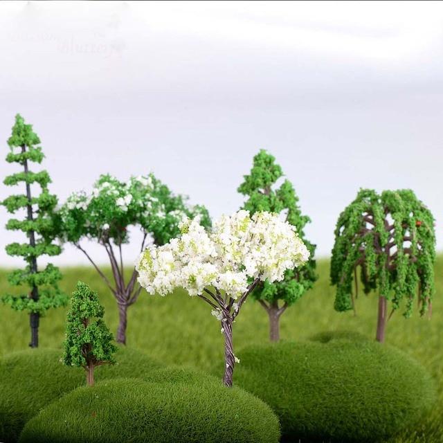 Plastic Mini Simulation Trees Kawaii Willow Sakura Mini Home Decoration Garden Microlandscape Miniatures Figurines 4