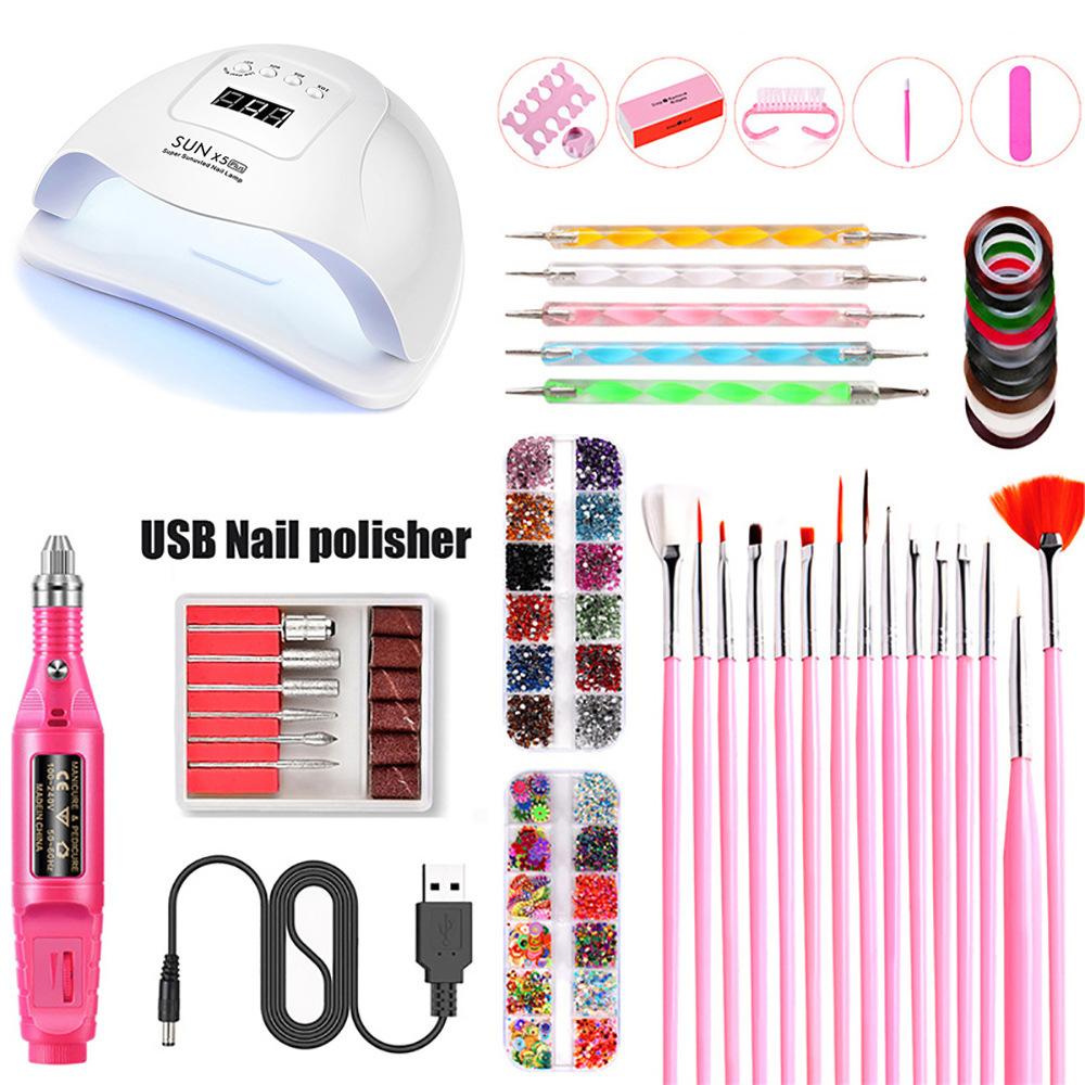 Electric Nail Art Manicure Tools Kit UV LED Nail Lamp Dryer Colors Gel Nail polish DIY Tools Nail Set Kit Gel Varnish Set